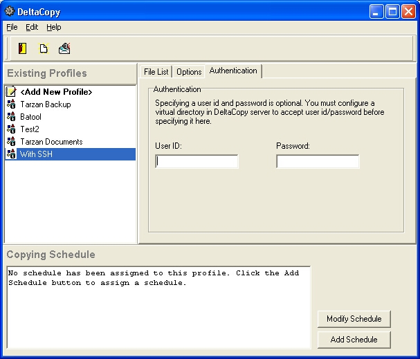 Screen shot for DeltaCopy Server